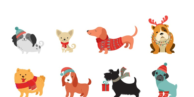 Dogs illustration at holidays